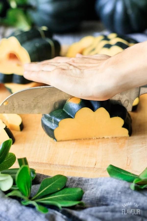 slicing acorn squash for roasting