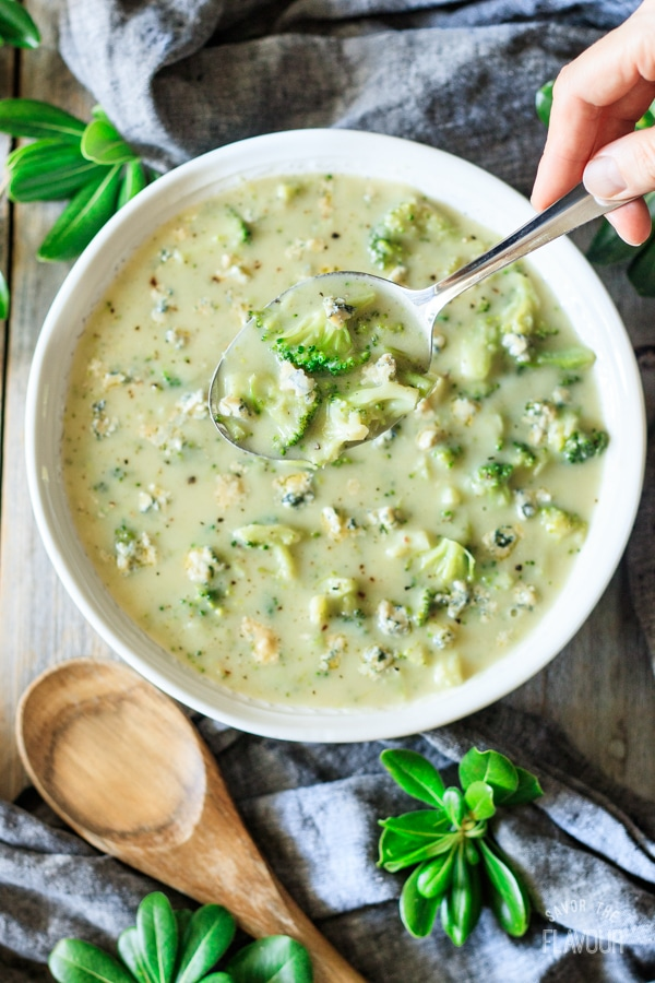 spoonful of broccoli and Stilton soup