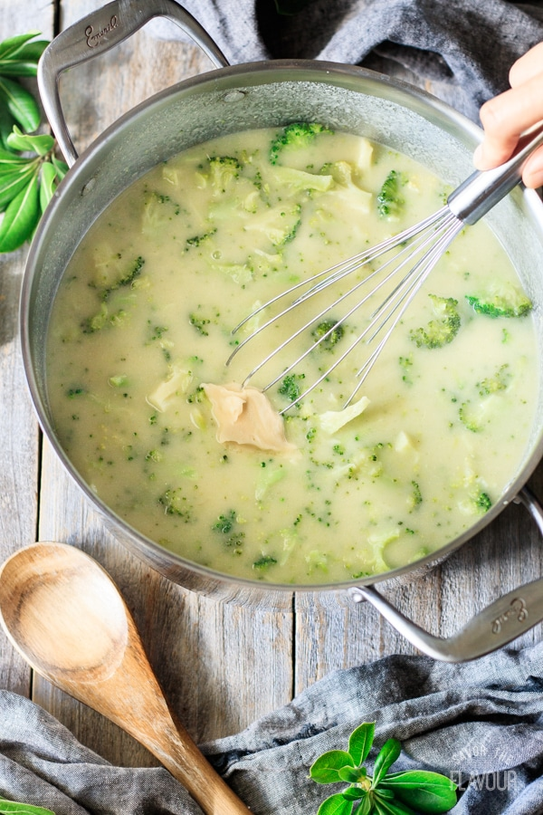 whisking the beurre manié into broccoli and Stilton soup