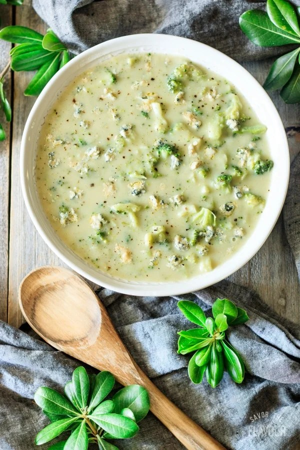 bowl of broccoli and Stilton soup with spoon