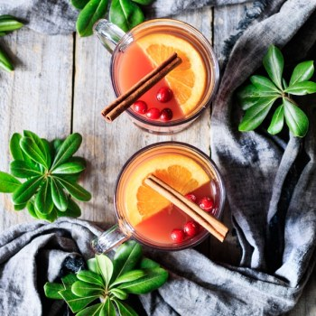 two glasses of mulled cranberry apple cider