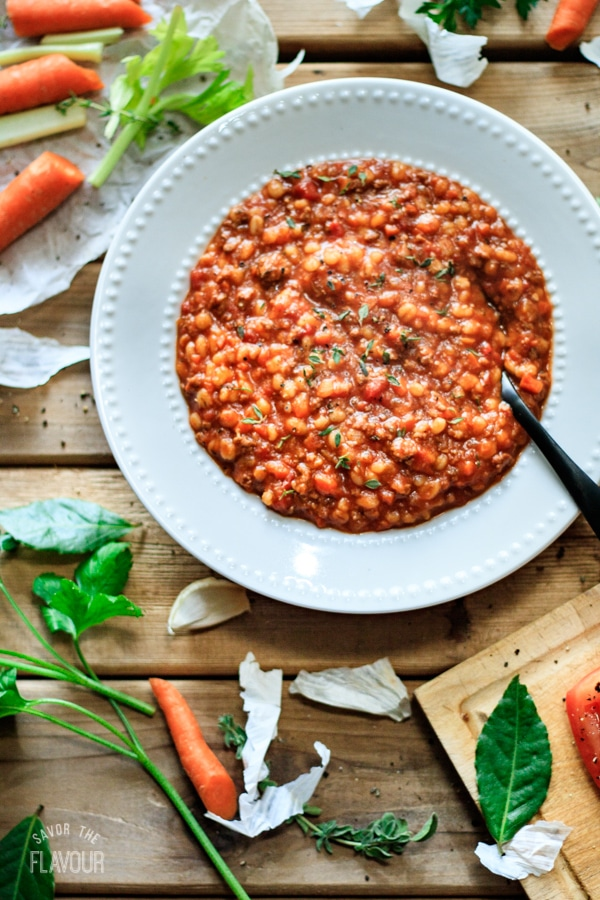 bowl of hamburger barley soup with vegetables
