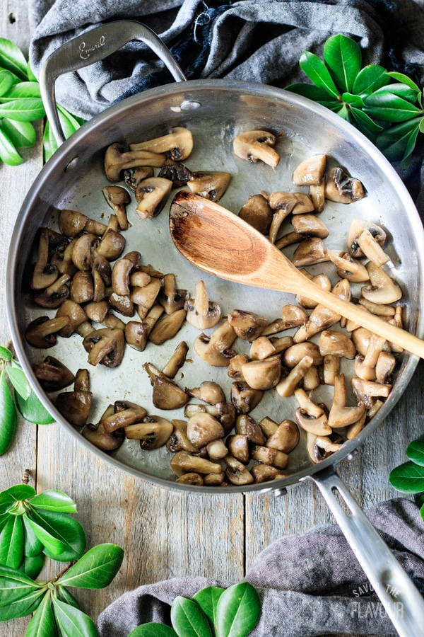 cooked mushrooms for sautéed kale with mushrooms