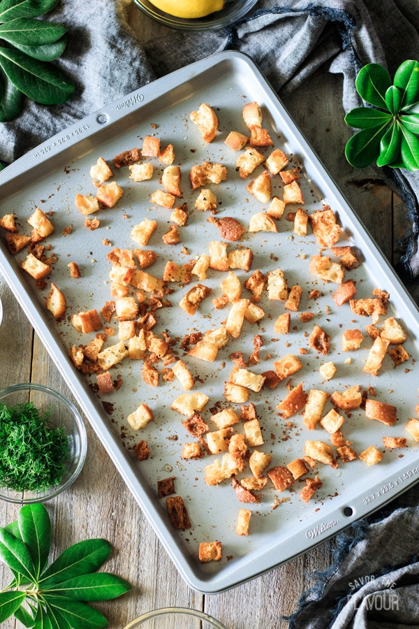 croutons on a cookie sheet for Greek lemon chicken soup