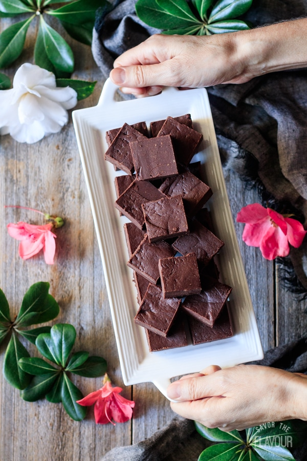 holding a plate of chocolate peanut butter fudge