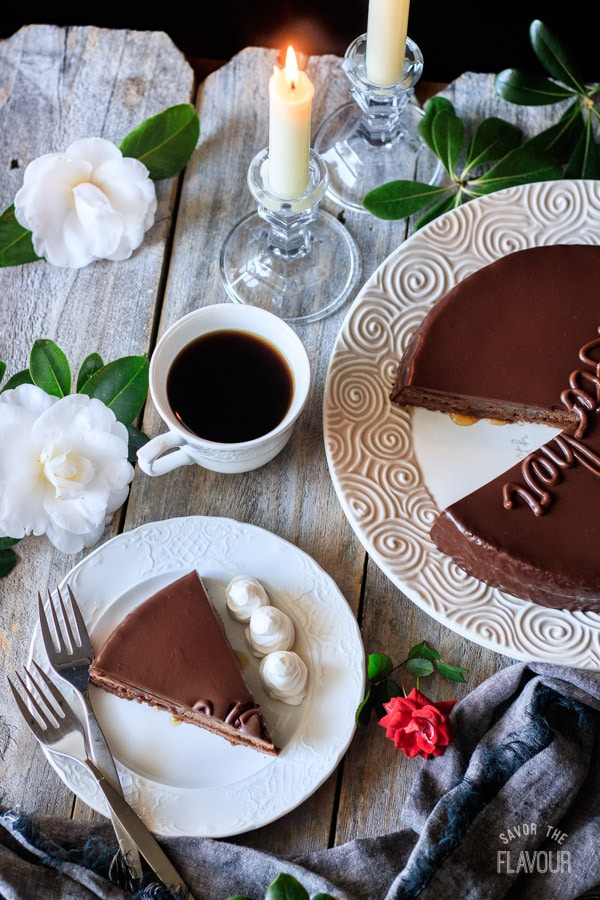 slice of sachertorte with a cup of coffee