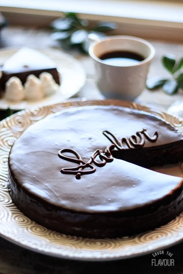 sachertorte with a coffee cup