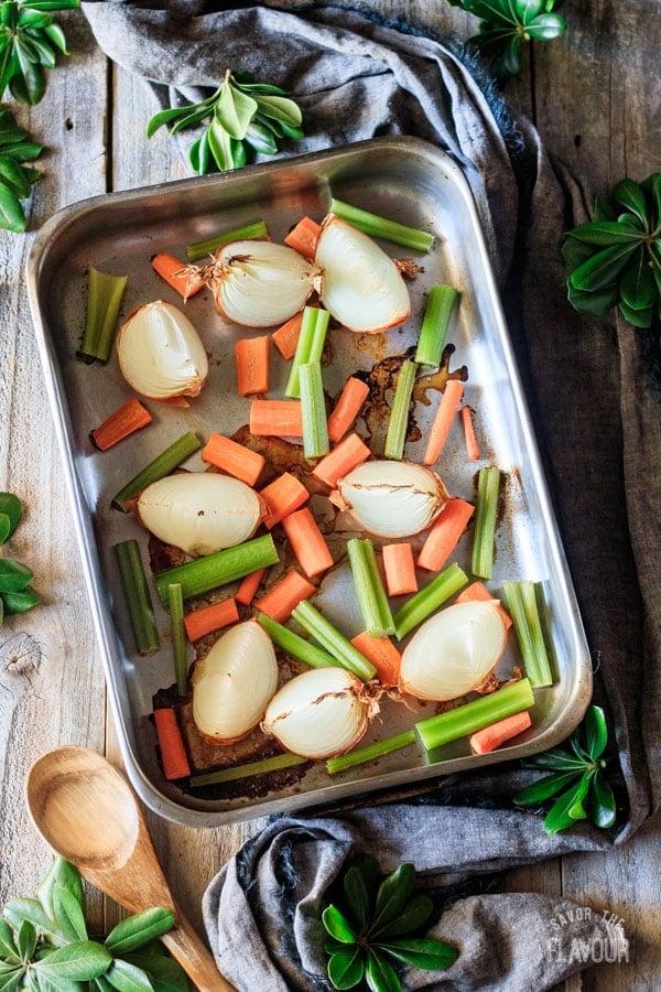 roasted vegetables for roasted turkey stock