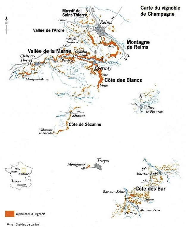 Champagne Map Marne Valley Côte des Blancs