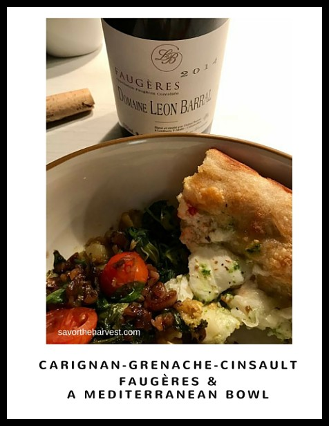 Didier Barral Faugeres 2014 red wine with garlicky greens and focaccia