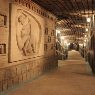 Art work and scultpures along the galleries of Milestii Mici Winery.