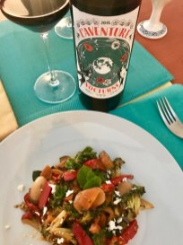 2016 L'Aventure Nocturne with sautéed vegetables and gigantes beans, Basque style.