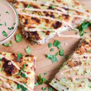 Kalua Pig Pulled Pork Quesadilla with Chipotle Cream Sauce