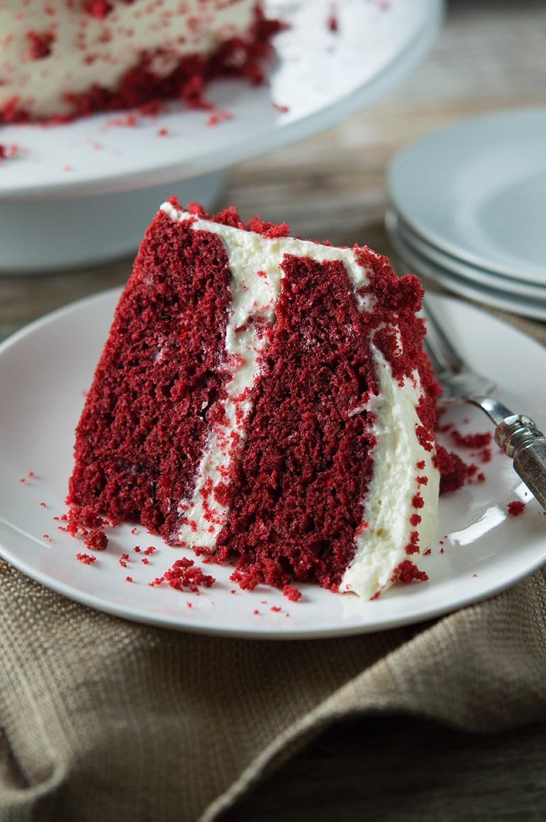 Moist Red Velvet Cake and Whipped Cream Cheese Frosting