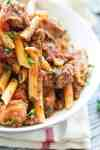 Spicy Italian Sausage Marinara Pasta that I truly believe is easy to make and has a little kick to it!