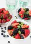 This Fruit Salad with Peach Moscato Drizzle is a simple and delicious tipsy salad.
