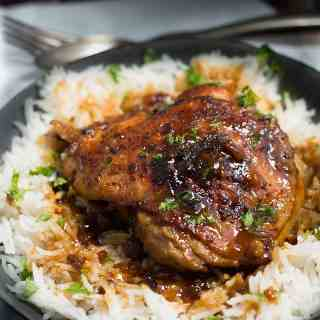 Crispy One Pot Honey Garlic Ethiopian Berbere Chicken Thighs