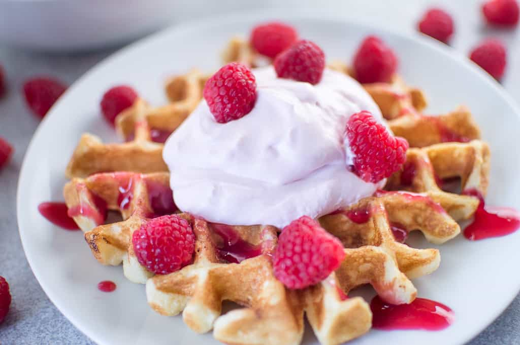 Waffle with Raspberry Champagne Mascarpone Cream