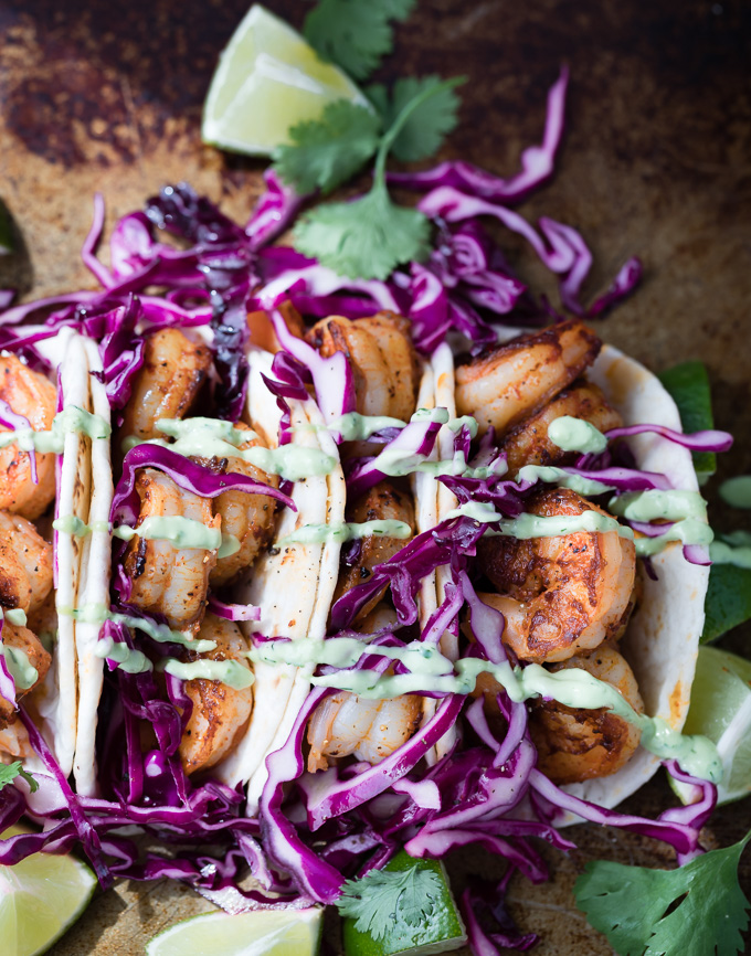 shrimp tacos with avocado ranch