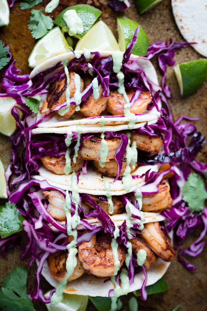 shrimp tacos with avocado ranch