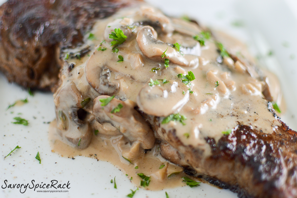 steak with bourbon mushroom sauce