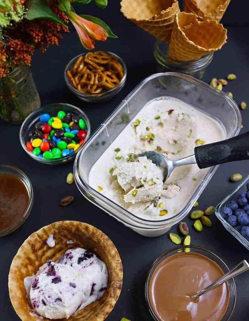 No-Churn, Dairy-FreePistachio-Cinnamon Ice Cream Movie Night Party