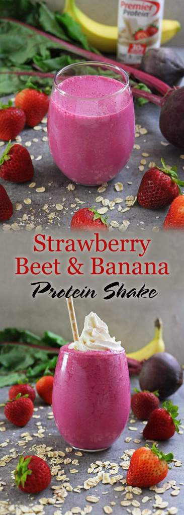 Strawberry Beet & Banana Protein Shake with Whipped Cream Topping @PremierProtein #TheDayIsYours #Sponsored