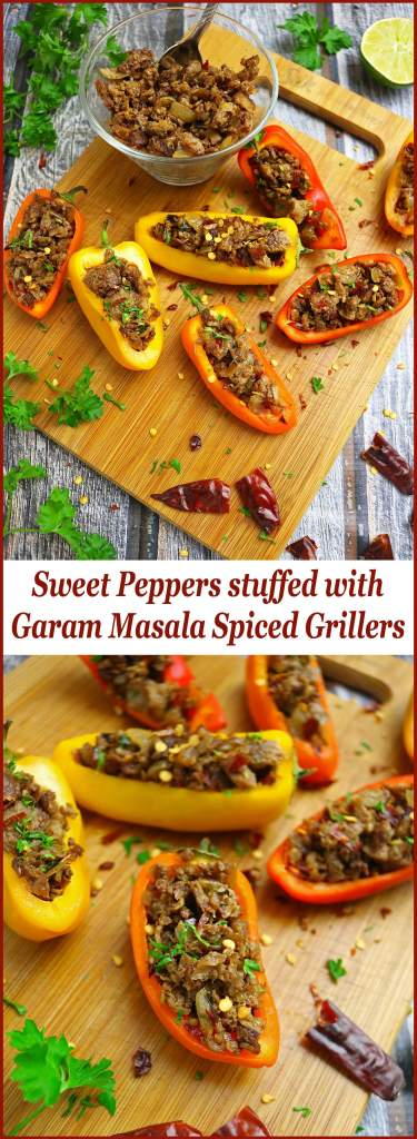 Sweet Peppers Stuffed With Garam Masala Spiced Vegetarian Grillers