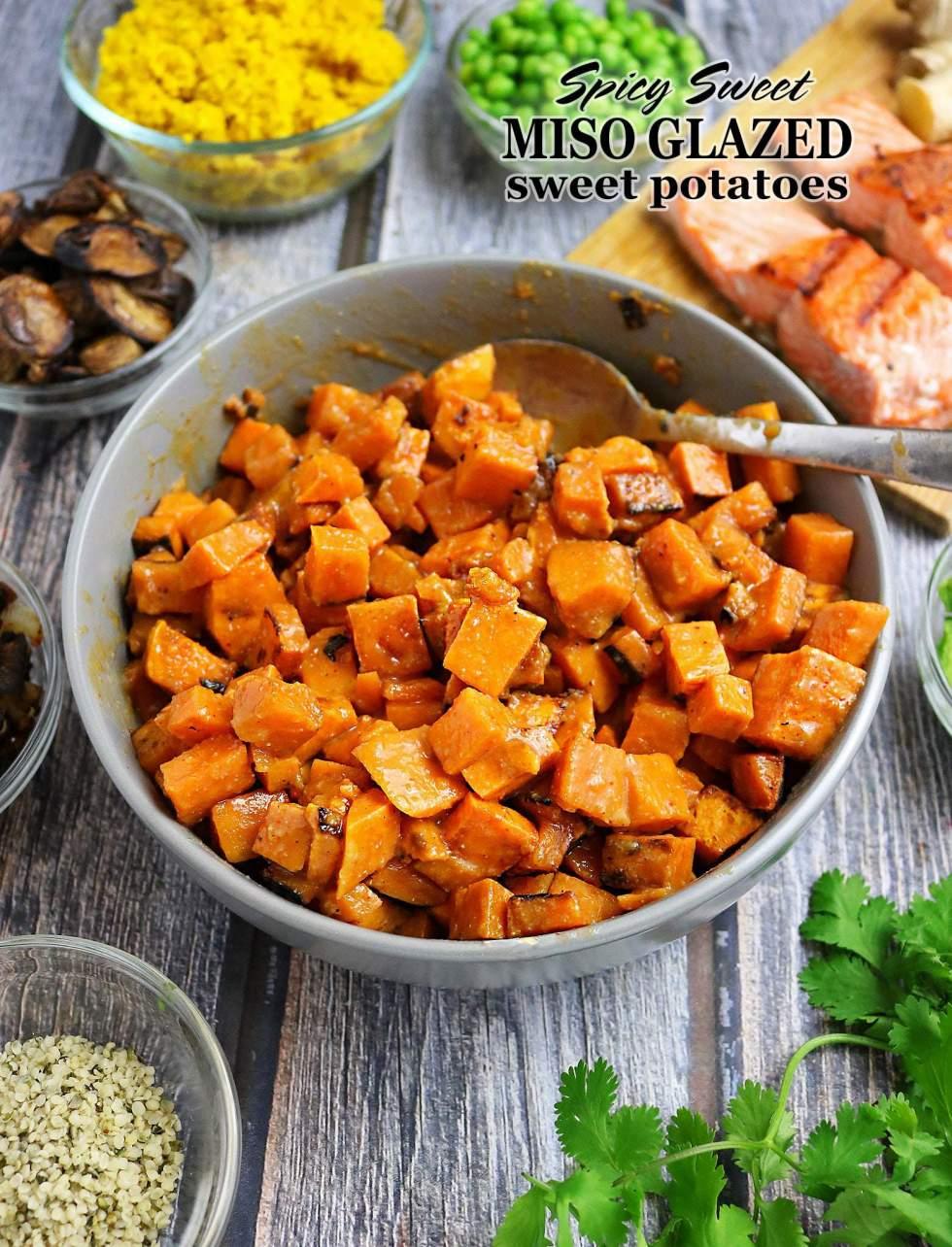 Spicy Sweet Miso Glazed Sweet Potatoes Bowls