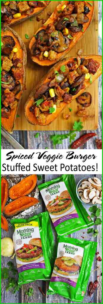 Spicy Veggie Burger Stuffed Sweet Potatoes #shop #TailgateWithATwist #SeasonalSolutions
