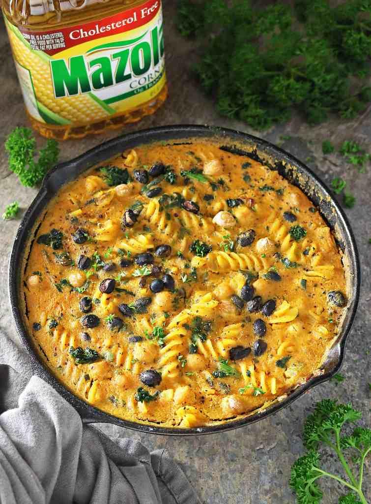 Easy Bean & Veggie Pasta Bake with Creamed Butternut Squash