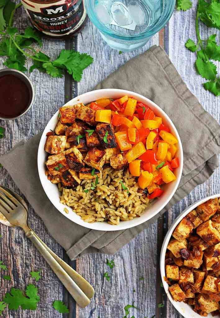 Easy Honey BBQ Tofu Bowl with Rice and Peppers