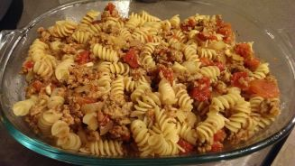 Step 11b - Combining the pasta and meat sauce. Baked rotini with ground turkey and onions