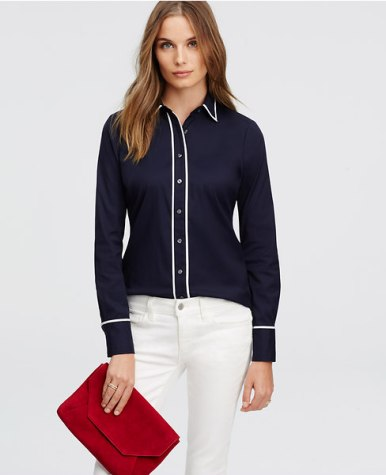 Contrast Tipped Perfect Shirt