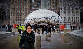 Express Green Marl Knit Twist Loop Scarf   Cloud Gate aka The Bean, Chicago, IL