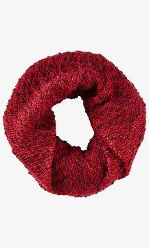 Red Marl Knit Twist Loop Scarf