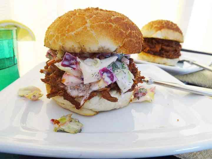 BBQ pulled pork in the slow cooker on bun with slaw