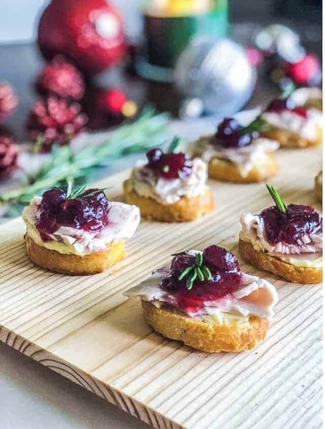 Leftover Turkey Cranberry Crostini