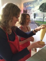 Tandi Wilkinson and Kim Irving realizing their hidden pastry talents - photo - Karen Anderson