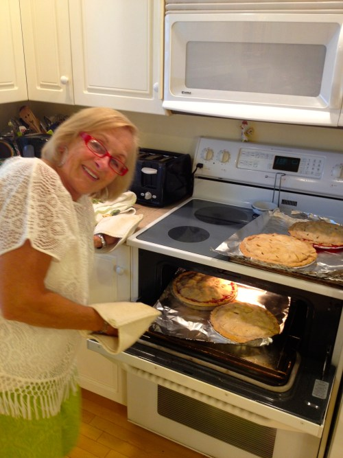 My Mom Gerri - the pie maker - in action - photo - Karen Anderson