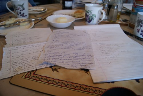 handwritten recipes being transferred from one generation to another