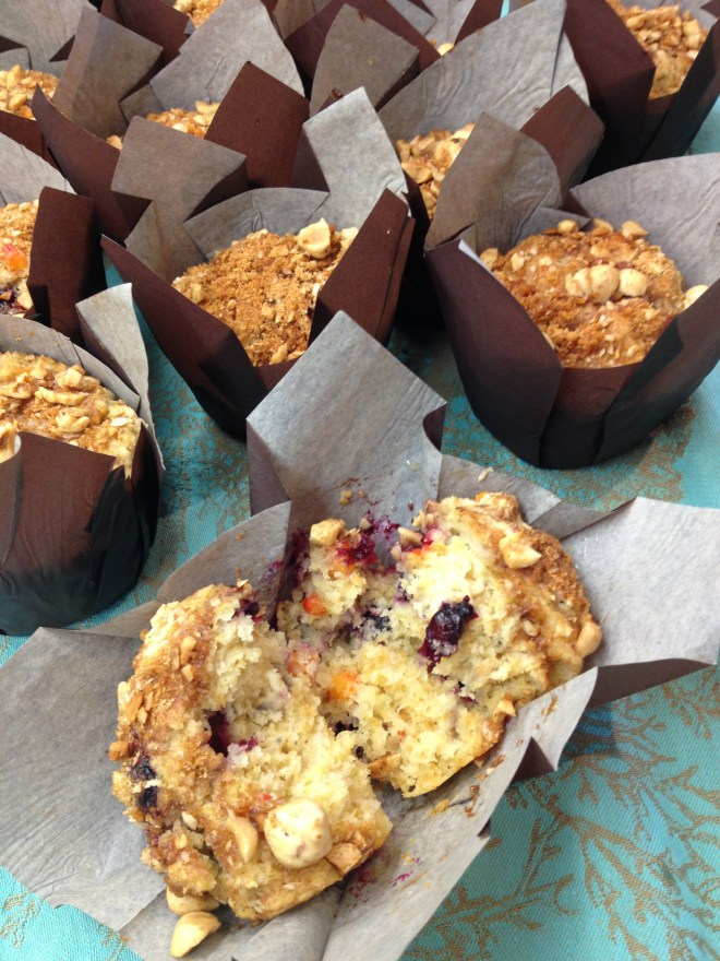 Prairie Fruit Muffins with Hazelnut Topping - reveal of inside the muffin