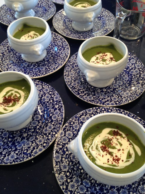 Asparagus soup with lemon horseradish creme fraiche and Marrakesh chilies photo - Karen Anderson