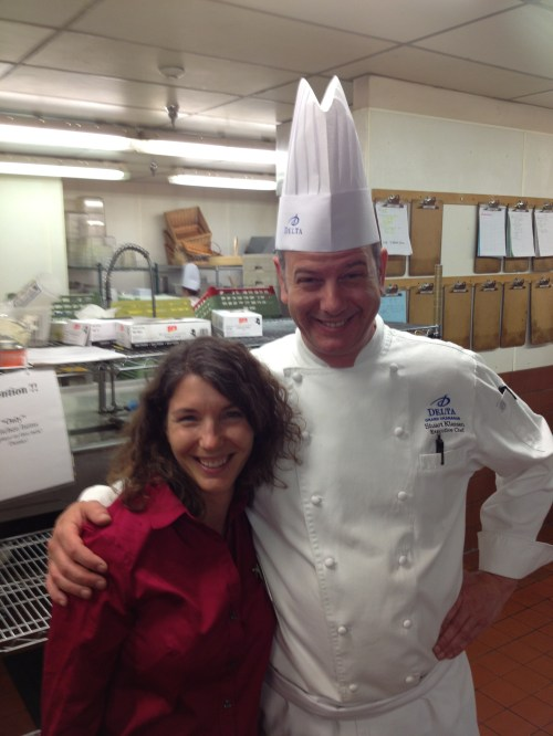 OKFWWWorkshop organizer Jennifer Cockrall-King with very tall looking chef Stuart Klassen of the Delta Grand Okanagan
