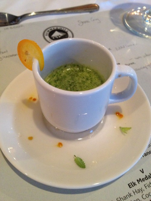 Palate cleanser cum detox for food and wine writers w nettles, mint, orange and ginger by chef Jesse Croy - brilliant!