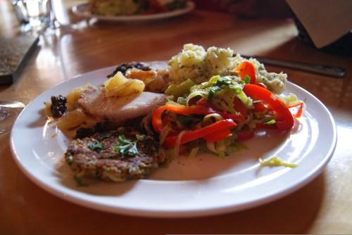 Pork loin dinner - night 2 - Mt Assiniboine Lodge photo - Karen Anderson