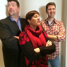 """Dave Amadio, Lisa Zinck and Al Drinkle putting on their """"game face"""" photo - Karen Anderson"""
