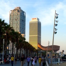 Gehry's fish from afar - walking the boardwalk from Barceloneta to Olimpic - photo - Karen Anderson