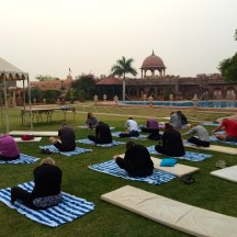 early morning yoga at Khimsar - photo - Karen Anderson