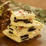 Oreo Candy Cane White Chocolate Bark - side view